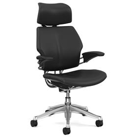 PRE ORDER Humanscale Polished Freedom Chair, Bizon Black Leather, White Box Stitch Detail