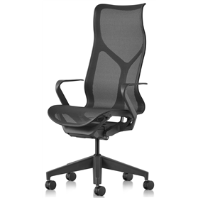 Herman Miller Cosm Graphite High Back Chair, Fixed Arms