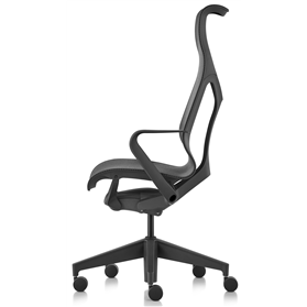 Herman Miller Cosm high back graphite chair with fixed arms