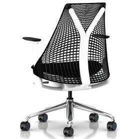 Herman Miller Sayl Chair Black and White Polished Rear