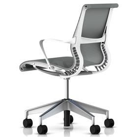 Herman Miller Setu Studio White, Semi Polished Base Rear