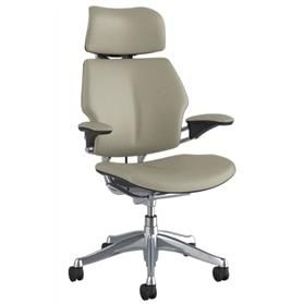 IN STOCK! Humanscale Freedom Chair with Headrest in Ticino Pebble Grey leather