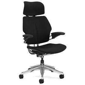 Humanscale Freedom Chair with Headrest, Polished Frame and Base, Black Fabric