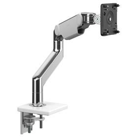 IN STOCK! Humanscale M8.1 Heavy Duty Monitor Arm, Polished Aluminium with White Trim