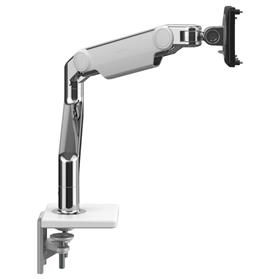 Humanscale M8.1 monitor arm polished aluminium with white trim side