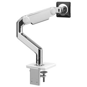 Humanscale M8.1 monitor arm polished aluminium with white trim rear