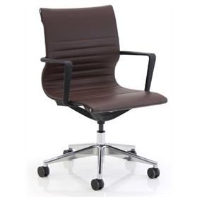 Verco Flux Faux Leather Chair, Polished Aluminium base