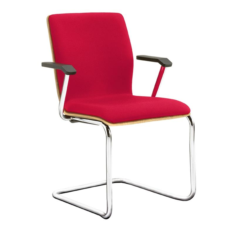 Verco Profile Cantilever Visitor Chair Partly Upholstered with Arms