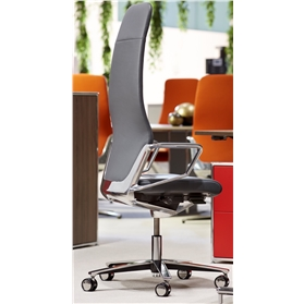 Zuco Signo High Backrest Executive Office Chair in Midnight Black Leather