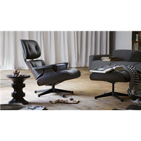 Vitra Lounge Chair and Ottoman by Eames, Black Ash Edition