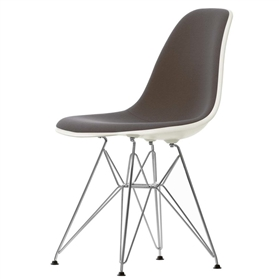 Vitra Eames DSR Upholstered Chair, Stone White / Chocolate