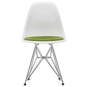 Vitra Eames DSR Upholstered Seat Chair, White / Avocado