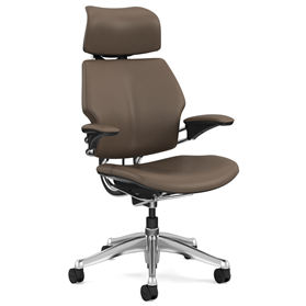 Humanscale Polished Freedom Chair, Bizon Miso Leather, Coffee Box Stitch Detail