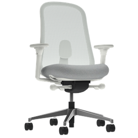 Herman Miller Lino Office Chair Aristotle Grey, Polished Base, Fully Adjustable Arms