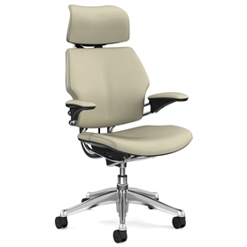 Humanscale Polished Freedom Chair, Columbia Pebble Premium Leather