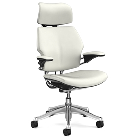 Humanscale Polished Freedom Chair, Columbia Snow Premium Leather