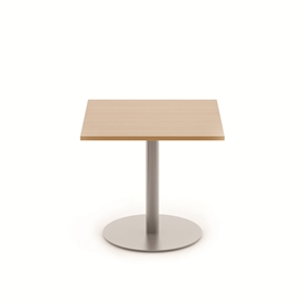 Komac Reef Square Top Round Bottom 600mm D White/Beech Meeting Table
