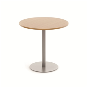 Komac Reef Round Top & Bottom 800mm Diameter White/Beech Poseur Table