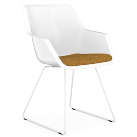 Viasit Repend Shell Chair, Steel Skid Frame, Upholstered Seat Pad