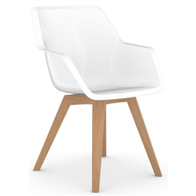 Viasit Repend Shell Chair, Four Leg Oak Base