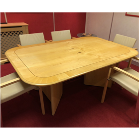 William Hands Veneer Meeting Table and Credenza (Used)
