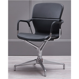 Herman Miller Keyn 4 Star Chair, Polished Base, Black Leather
