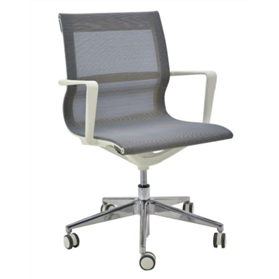 Verco Flux medium back mesh task armchair, White with Polished Base