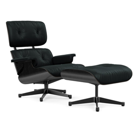 Vitra Eames Lounge Chair and Ottoman by Charles and Ray Eames, Black Ash