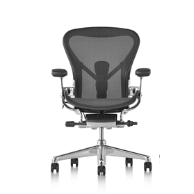 IN STOCK Executive Herman Miller Aeron Polished Aluminium Size C (Large), Leather Armpads