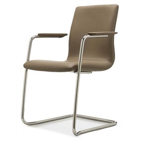 William Hands Cypher Cantilever Low Back chair, stacking, upholstered arm pads