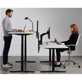 Boss Design ACDC Sit-Stand Height Adjustable Desk, Soft Touch Fenix Surface