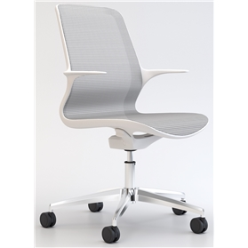 Elite Tempo White Mesh Office Swivel Chair, Polished Metal Base