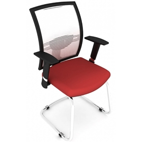 Elite Loreto Cantilever Meeting Chair, White Mesh