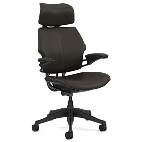 Humanscale Graphite Freedom Chair, Bizon Terra Dark Brown Leather