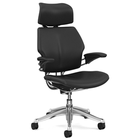 Humanscale Polished Freedom Chair, Bizon Black Leather, White Box Stitch Detail