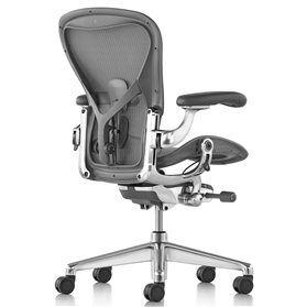 Executive Herman Miller Aeron Polished Aluminium Size C (Large) Leather armpads
