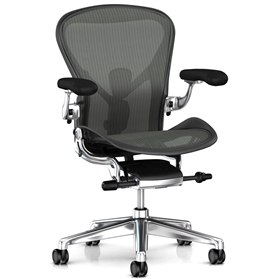 Executive Herman Miller Aeron Polished Aluminium Size B (Medium)