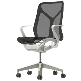 Herman Miller Cosm Studio White Mid Back Chair, Fixed Arms