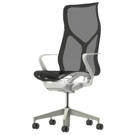 Herman Miller Cosm Studio White High Back Chair, Fixed Arms