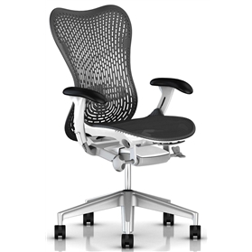 Herman Miller Mirra 2 Triflex Back, Graphite With White Frame Alloy Base