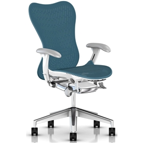 Herman MIller Mirra 2 Dark Turquoise, White Semi-Polished Base