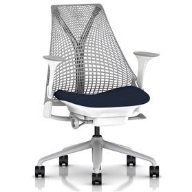 Herman Miller Sayl, Vico Navy Blue, Fog Base, Height Adjustable Arms