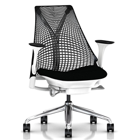 Herman Miller Sayl Black and White, Polished Aluminium Base
