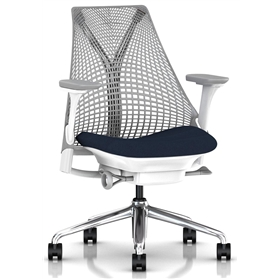 NEXT DAY DELIVERY! Herman Miller Sayl, Vico Navy Blue, Polished Base, Fully Adjustable Arms