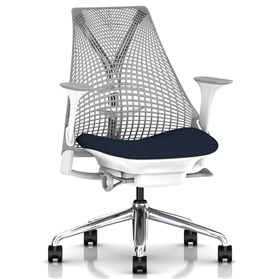 Herman Miller Sayl, Vico Navy Blue, Polished Base, Height Adjustable Arms