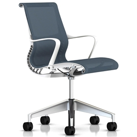Herman Miller Setu Chair Berry Blue, Semi Polished Base