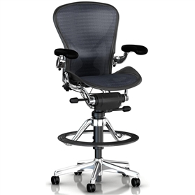 Herman Miller Classic Aeron Executive Stool, Polished Aluminium Size B (Medium) Leather armpads
