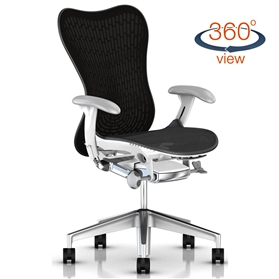 Herman Miller Mirra 2 Graphite with White frame, Semi Polished Base, Fog Arms