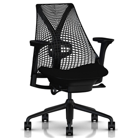 Herman Miller Sayl Fully Loaded All Black, Black Plastic Base
