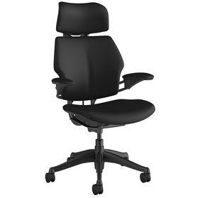 In Stock Humanscale Graphite Freedom Chair in Corvara Onyx Black Leather with Noir Box Stitching